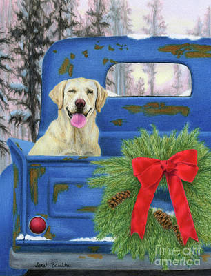 Dog In Snow Painting - Pick-en Up The Christmas Tree by Sarah Batalka