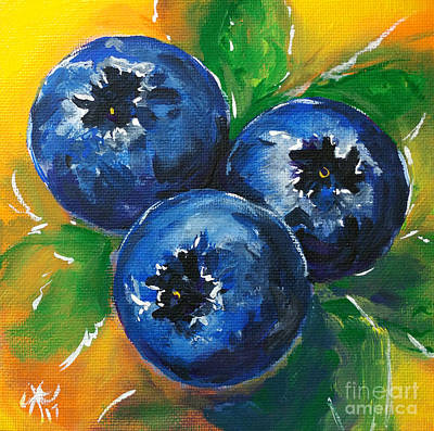 Painting - 1 2 3 Blueberries Sweet Yummy Blue Green Yellow Orange Bright Bold  by Jackie Carpenter