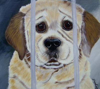 Painting - Pick Me Golden Retriever Pup by Debra Campbell