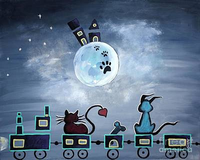 Cats Painting - Picken Midnight Train To The Moon - For Children Paintings By Valentina Miletic by Valentina Miletic