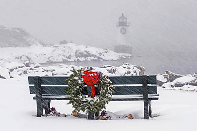 Photograph - Pickering Light During A Snowstorm Winter Island Salem Ma Bench Wreath by Toby McGuire