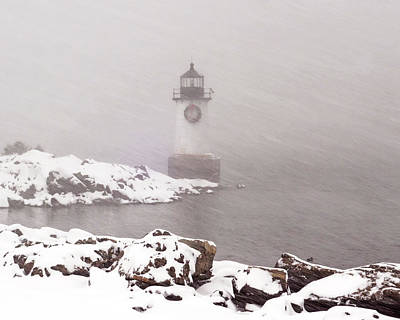 Photograph - Pickering Light During A Snowstorm Winter Island Salem Ma by Toby McGuire