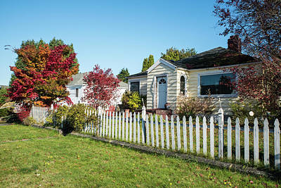 Photograph - Picket Fence And Autumn Trees by Tom Cochran