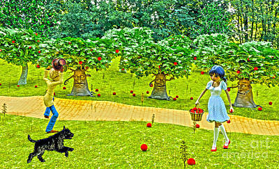 Digital Art - Picking Apples On The Road To Oz  by Methune Hively