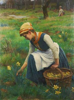 Daffodils Painting - Picking Daffodils by MotionAge Designs