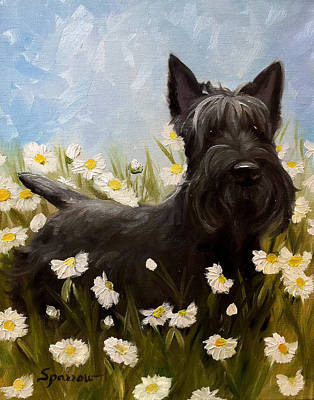 Scottish Dog Painting - Picking Daisies II by Mary Sparrow