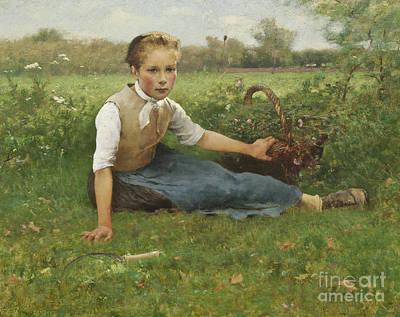 Painting - Picking Flowers, 1882 by Hugo Salmson