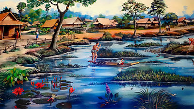 Painting - Picking Lotus Flowers by Ian Gledhill