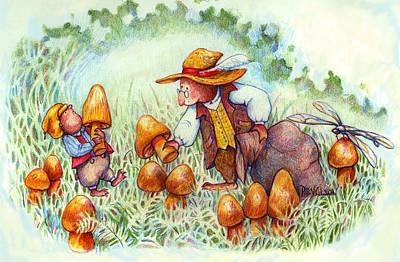 Picking Mushrooms Art Print by Peggy Wilson