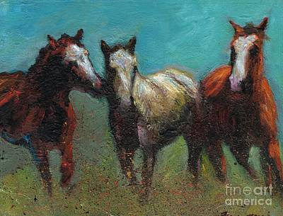 Abstract Equine Painting - Picking On The New Guy by Frances Marino