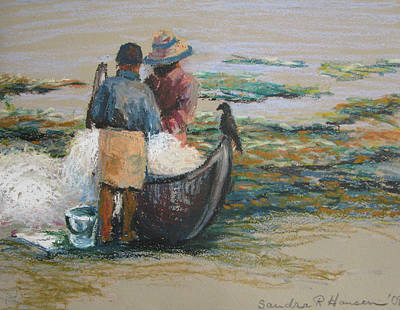 Pastel - Picking Out The Fish by Art Nomad Sandra  Hansen