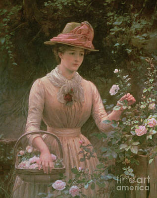 Pruning Painting - Picking Roses by Charles Sillem Lidderdale