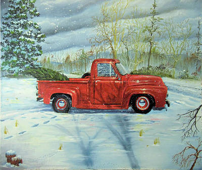 Painting - Picking Up The Christmas Tree by Nicole Angell