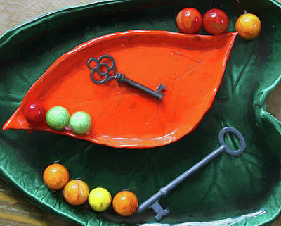 Photograph - Pickle Dishes Keys Marbles by Mary Bedy
