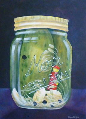 Dill Pickles Painting - Pickles With Red Boy by Sherrill Hull