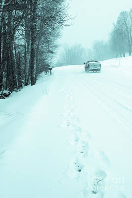 Photograph - Pickup Truck Driving Through A Blizzard Snowstorm by Edward Fielding