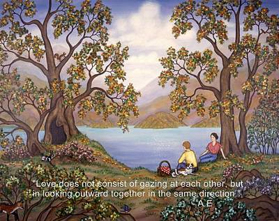 Picnic Painting - Landscape And Love Quote by Linda Mears
