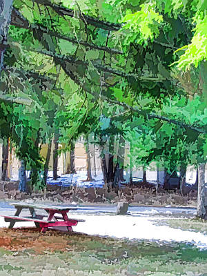 Public Holiday Painting - Picnic Area With Wooden Tables 1 by Lanjee Chee