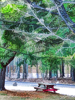 Public Holiday Painting - Picnic Area With Wooden Tables 2 by Lanjee Chee