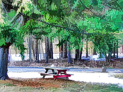 Public Holiday Painting - Picnic Area With Wooden Tables 3 by Lanjee Chee