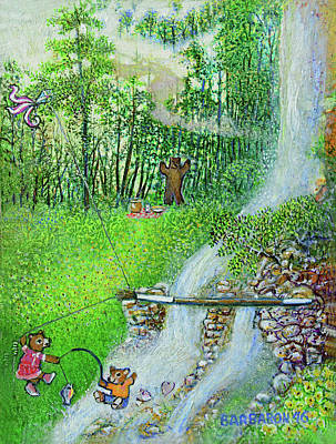 Kite Fishing Painting - Picnic At Paint Brush Falls by Aaron Horrell and Barb Bailey