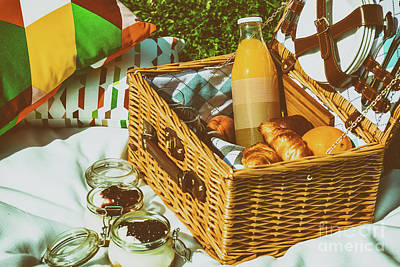 Strawberry Jam Photograph - Picnic Basket With Fruits, Orange Juice, Croissants And No Bake Blueberry And Strawberry Jam by Radu Bercan