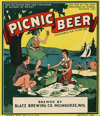 Digital Art - Picnic Beer by Vintage Pix