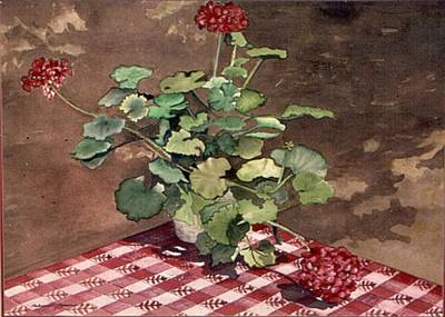 Checked Tablecloths Painting - Picnic Geraniums by Rebecca Marona