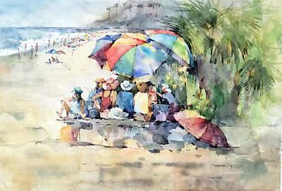Painting - Picnic - Laguna Beach - California by Natalia Eremeyeva Duarte