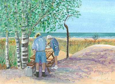 Picnic On Lake Huron - Painting Art Print by Veronica Rickard