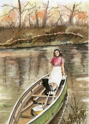 River Woman Painting - Picnic On The Great Miami by Marsha Elliott