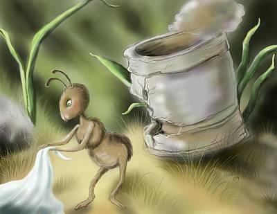 Ant Digital Art - Picnic Preparation by Hank Nunes