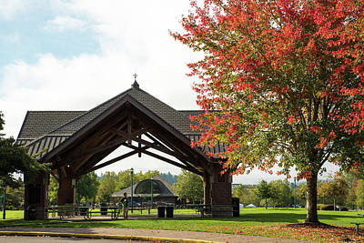 Photograph - Picnic Shelter And Fall Maple by Tom Cochran