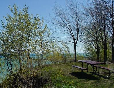 Photograph - Picnic Table By The Lake Photo by Anita Burgermeister
