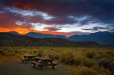 Picnic Tables At Sunset Art Print by Ralph Vazquez