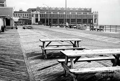 Photograph - Picnic Tables On The Boardwalk by John Rizzuto