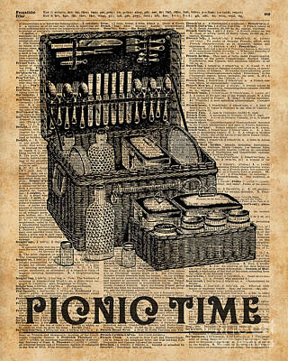 Retro Digital Art - Picnic Time Vintage Illustration Dictionary Book Page Art by Jacob Kuch