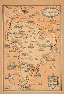 Royalty-Free and Rights-Managed Images - Pictorial Map of South America - South American Cruise - Antique Illustrated Map, 1927 by Studio Grafiikka