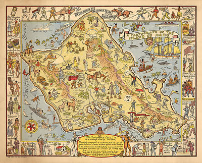 Royalty-Free and Rights-Managed Images - Pictorial Map of the Island of Oahu - Illustrated Historical Map - Cartography by Studio Grafiikka
