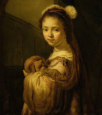 Sleeping Puppy Painting - Picture Of A Young Girl by Govaert Flinck