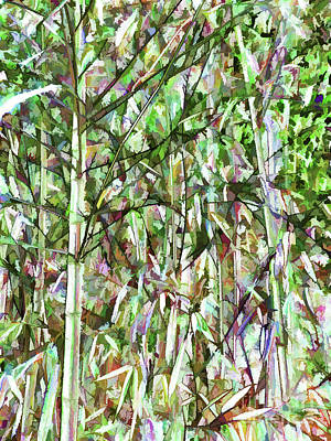 Picture Of Green Bamboo Forest Art Print