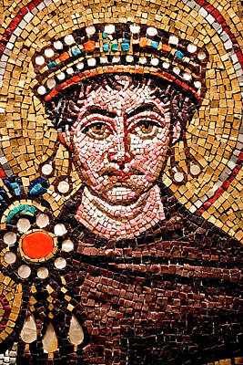 Photograph - picture of man from Byzantine mosaics in saint sophia mosque turkey by Azad Pirayandeh