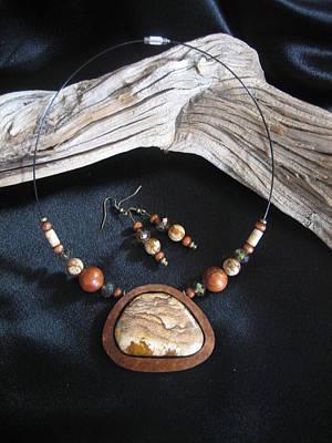 Jewelry - Picture Stone Jasper Set In Gourd Wood  by Barbara Prestridge