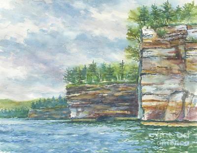 Wall Art - Painting - Pictured Rocks Cliffs by Kerry Kupferschmidt