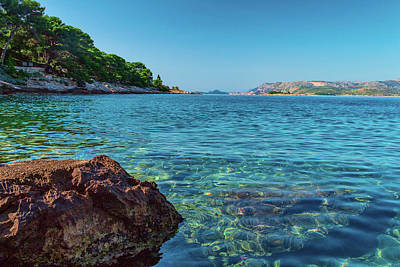 Picturesque Croatia Offers Tourists Pristine Beaches Of The Adriatic, Surrounded By Pine Trees And R Art Print