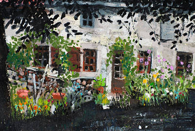 Painting - Picturesque Old Farmhouse,garden And Flowers by Martin Stankewitz