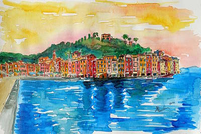 Portofino Italy Painting - Picturesque Portofino In Ligure Italy by M Bleichner
