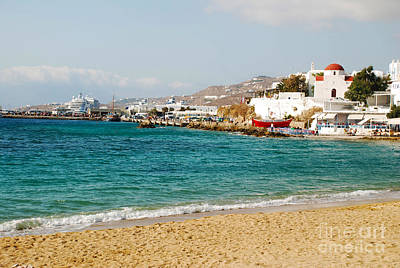 Greek Photograph - Picturesque Seashore On Mykonos Island Greece by Just Eclectic