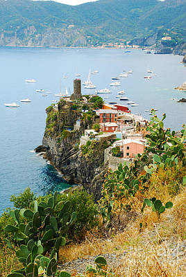 Italy Photograph - Picturesque Vernazza Italy Harbor View by Just Eclectic