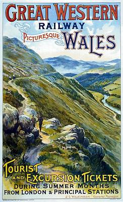 Landscapes Royalty-Free and Rights-Managed Images - Picturesque Wales - Landscape painting - Great Western Railway - Vintage Poster by Studio Grafiikka